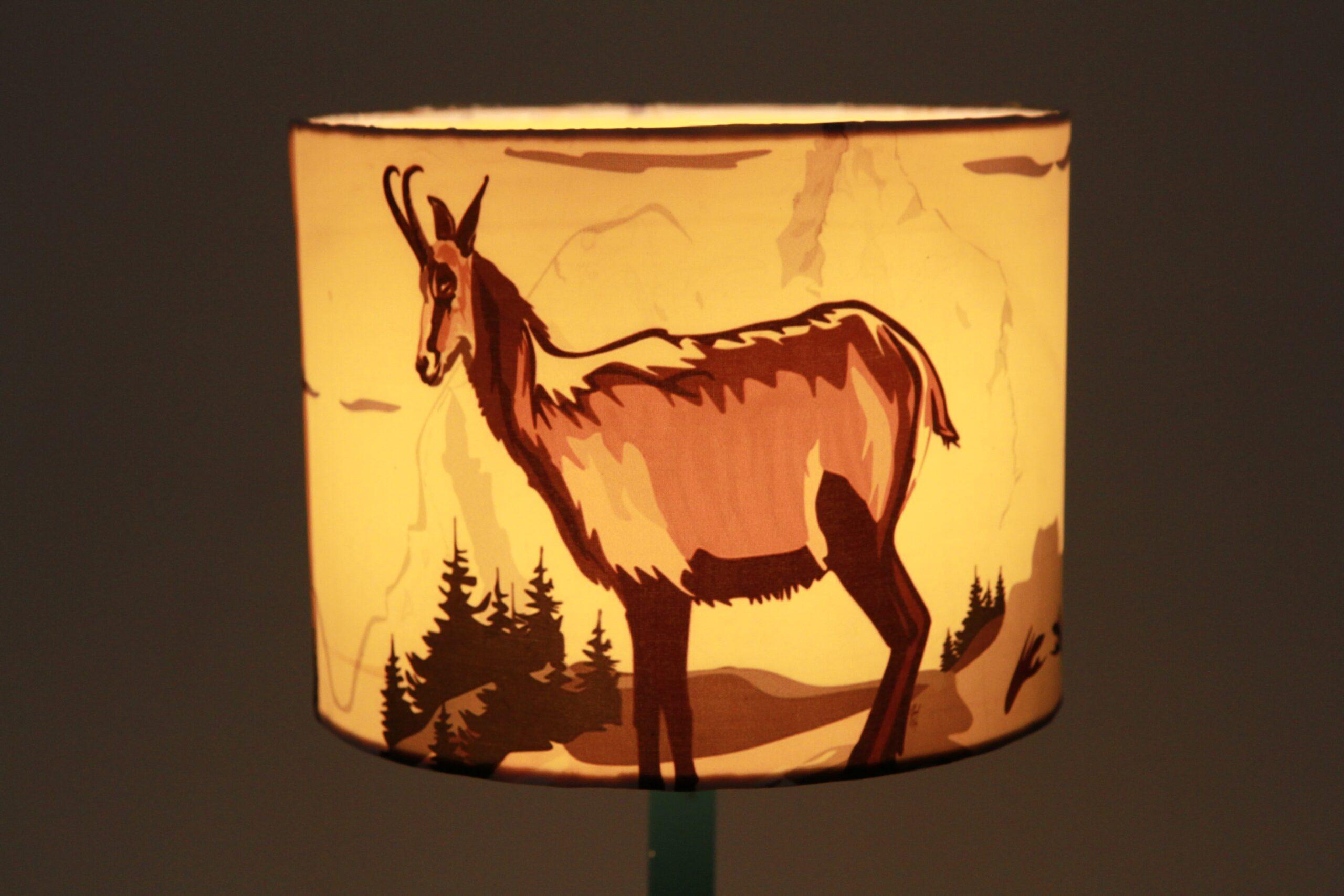 Goat Printed Silk Lampshade