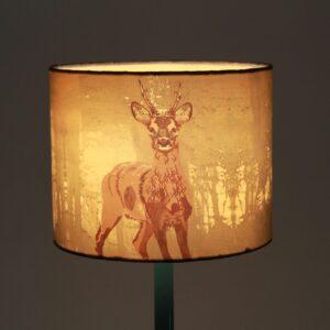Deer Printed Cylinder Silk Lampshade
